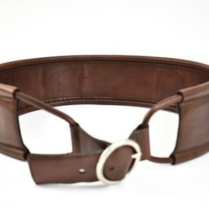 YSL: Chestnut Brown, Leather Waist Belt (mo)